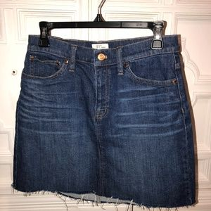 J.Crew denim skirt frayed hem 26 P